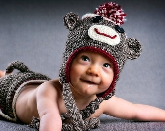 Toddler Sock Monkey Hat & Diaper Cover
