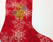 Golden snowman embroidered stocking
