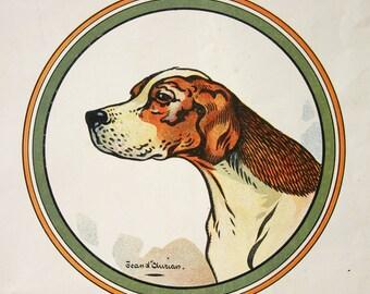 Pointer Dog Print Vintage French