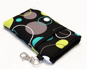 Custom fabric cell phone holder, iPhone 6 6s Plus, iPhone 7 plus, 5 5s 5c 4s 4 smartphone, wallet, case, purse, sleeve, pouch-Bubble Party