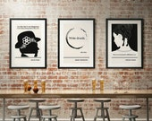 Any Three Literary Art Prints, Extra Large Wall Art Quotes Poster, Minimalist Black and White Art, Literary Gift, Vertical Living Room