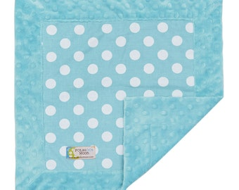 30% off coupon - Baby Boy  Lovey Security Blanket - Modern Polka Dots on Aqua Blue Minky - FREE SHIP