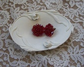 RESERVED - Vintage metal trinket dish with raised floral design, oval shape, Cottage Chic
