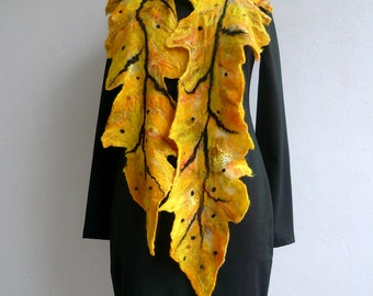 Nunofelted Yellow Leaf Scarf/ Nunofelt  Silk Scarf / Fiber Art