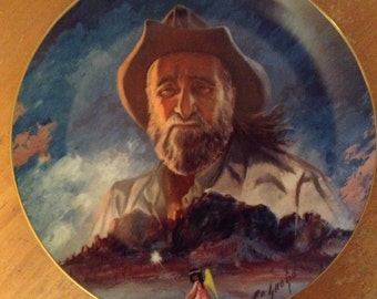 "DeGrazia, ""DeGrazia and His Mountain"", Collector Plate, 1983, Ted DeGrazia, Larry Toschik"