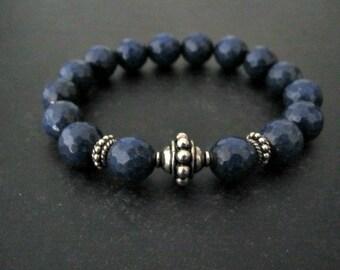 Navy Jade Bracelet | Stack Bracelet | Sterling Silver Jewelry | Artisan Bracelet | Nautical Bracelet | Layering Jewelry