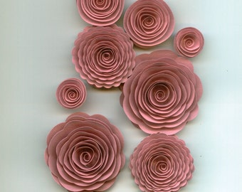 Vintage Pink Handmade Spiral Paper Flowers