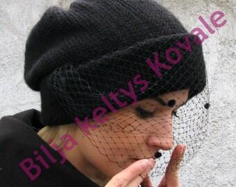 Handmade Veil Beanie Hat - Black