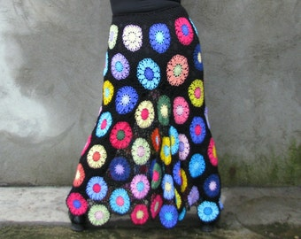 Long Gypsy skirt Transparent Colorful flowers on black background,multicolor... L...XL...XXL
