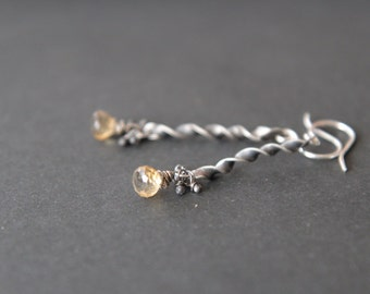 Sterling silver earrings  with small yellow chalcedony