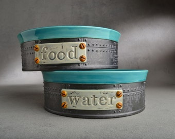 Dog Bowl Set Made To Order Sheet Metal Dog Bowls  by Symmetrical Pottery