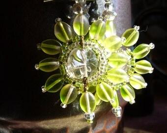 One of a Kind Beaded Sunburst Lime Green Earrings