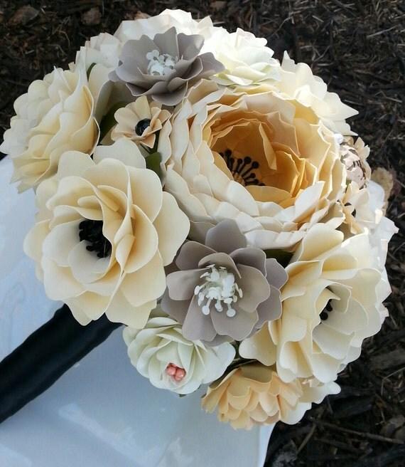 Paper bouquet paper flower bouquet wedding bouquet ivory gold il570xn mightylinksfo