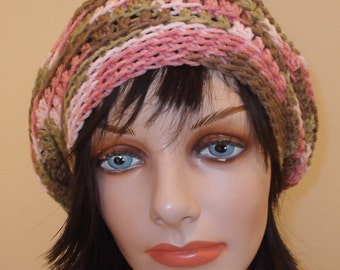 Pink Camouflage Slouchy Hat Sale Women's Pink Camouflage Slouchy Hat Pink Crochet Beret Pink Camouflage Tam