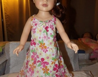 Colorful floral 3 tiered ruffed sundress for 18 inch Dolls - ag240