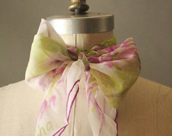 Vintage 60's Floral Lavender and Chartreuse Sheer Scarf by Vera
