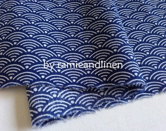 Japanese cotton fabric, blue Ocean Waves print cotton fabric,  fat quarter