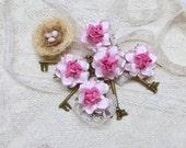 Mulberry Paper flowers, Scrapbooking Embellishment, Roses, Wedding, Bridal, Card Making, Dark Pink Center, Mixed Media, Mini Album, Set of 5