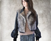 Denim jacket women/Fake fur outerwear/Faux two tone blue