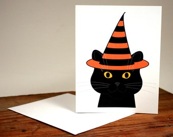 Halloween Witch Cat Card, black cat, chat, gato, note card, graphic illustration, smiling cat, blank greeting card, cat lover, witch hat