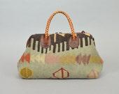 KILIM LEATHER boho southwestern hippie geometric HANDBAG doctor's bag