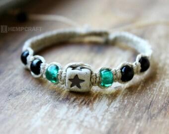 Macrame Hemp Bracelet, Black and Turquoise Star Bracelet, Eco Friendly Jewelry