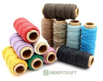 Hemp Twine, 12 Mini Spools Colored Craft Cord, Beading Twine, Colored Twine