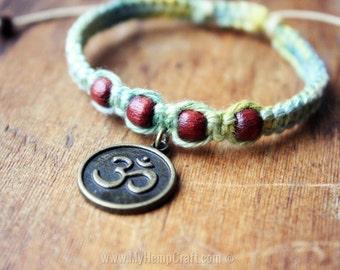 Ohm Charm Bracelet with Wood Beads, Hand Dyed Hemp Macrame Bracelet