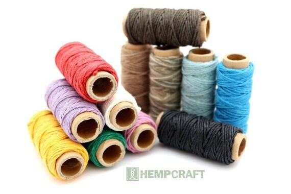 Hemp Twine 12 Mini Spools Colored Craft Cord Beading Twine
