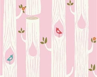 Circa 52 Tree Stripes in Pink Organic Cotton Fabric by Birch , by the half yard or yard
