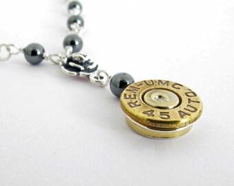 45 Auto Bullet Necklace, Guns N Roses Bullet Necklace, Custom Bullet Necklace, Bullet Jewelry, Sterling Silver Rose, Handmade Gift for Her