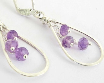 Amethyst Earrings, Genuine Amethyst and Sterling Silver Earrings, February Birthstone Earrings, Teardrop Sterling Silver, Lightweight Dangle