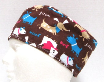 Flannel Mens Scrub Hat, Sleep Cap, Skull Cap or Chemo Hat with Dogs