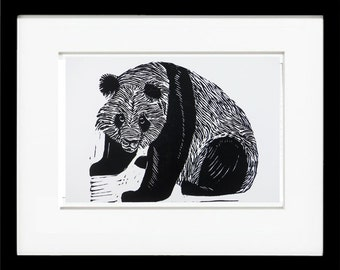 Panda Limited Edition  Linoleum Block Print