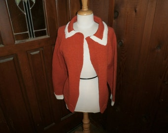VIntage Sweter Orange/White Knitted by machine size med-large circa 1950's