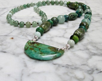 Natural Turquoise and Green Stone and Crystal Heart and Throat Chakra Healing Balancing Necklace with Chrysocolla Jasper Shield Pendant #2