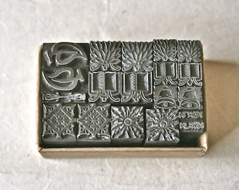 Letterpress Type Dingbats or Ornaments in Pairs for Printing Stamping and Decor