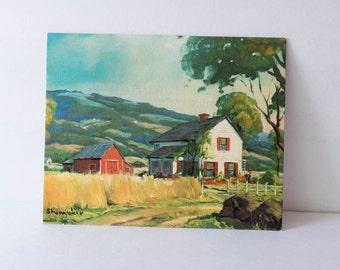 8 x 10 Vintage Litho Fine Print Shumaker Peaceful Valley Farmhouse Decor Cottage Decor Ready to Frame