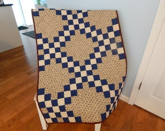 Blue Beige Calico Double Irish Chain Crib Quilt