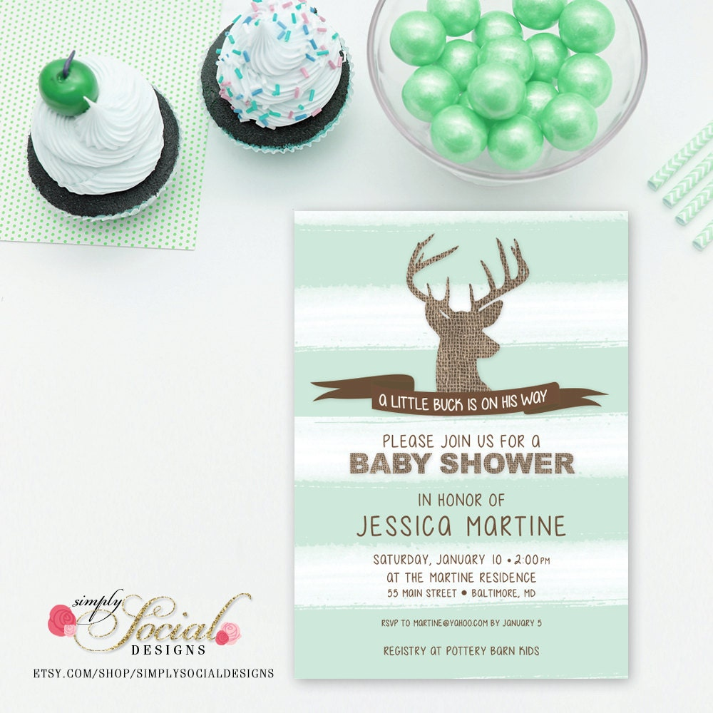 deer baby shower invitation a little buck is on the way mint stripes