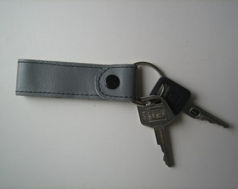 Gray Leather Key Chain