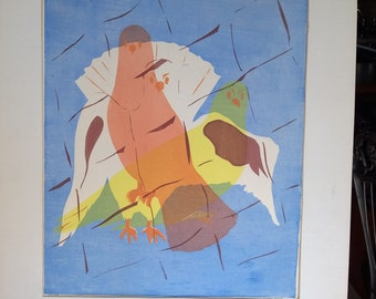 Signed 3 Dove Serigraph - Large Unframed Art - Pencil Artist Signature