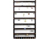 168 Pair Wall Mount Jewelry Organizer - Jewelry Display, Peruvian Walnut, Necklace Holder. 10 pegs.  Hanging. Earring Holder