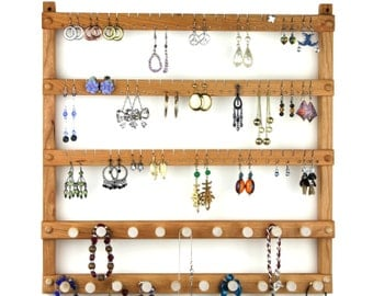 Jewelry Holder - Cherry Earring Display, Wall Mount, Wooden, 2 Necklace Bars. 72 pairs of Earrings, 19 pegs. Jewelry Organizer