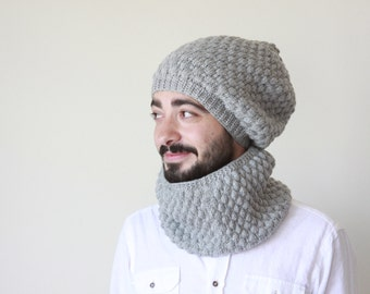 Men Hat Cowl Set, Matching Cowl hat set, Grey Cowl hat set, Matching Cowl hat, Mens circle scarf, Mens knit hat, Mens cowl scarf hat