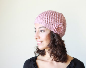 Dusty pink crochet hat for women, Crochet beanie with flower, Womens beanies hat, Women's crochet hats, Crochet beanie women
