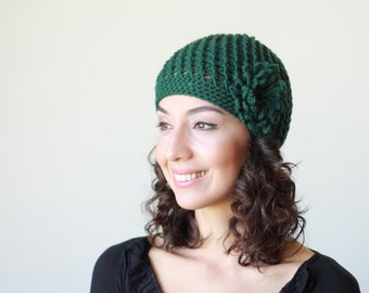 Emerald green Crochet Beanie women, Beanie hat, Women crochet beanie with flower, Beanie for women, Crochet hat for women, Women Beanie Hat