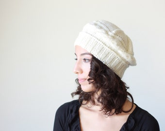 Women Knitting beret, Cream knit hat, Womens cream hat, Knitting Winter hat, Womens knitting hat, Womens knit berets, Adult knit hat