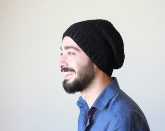 Men black beanie, Winter hat for men, Black hat, Slouch beanie men, Winter beanie, Wool hat for dude, Black slouch hat