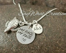 My Race My Pace Runners Necklace with Turtle Charm